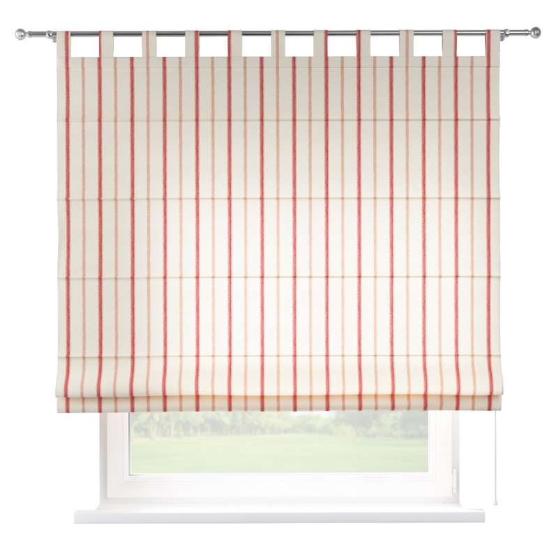Verona Tab Top Roman Blind Red Stripes Ivory Background