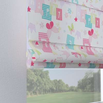 Verona tab top roman blind 141-51 pastel pattern of white background Collection Little World