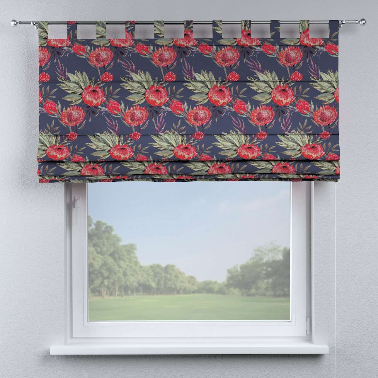 Verona tab top roman blind in collection New Art, fabric: 141-57