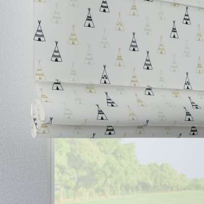 Verona tab top roman blind 141-84 creme- beige and black Collection Adventure