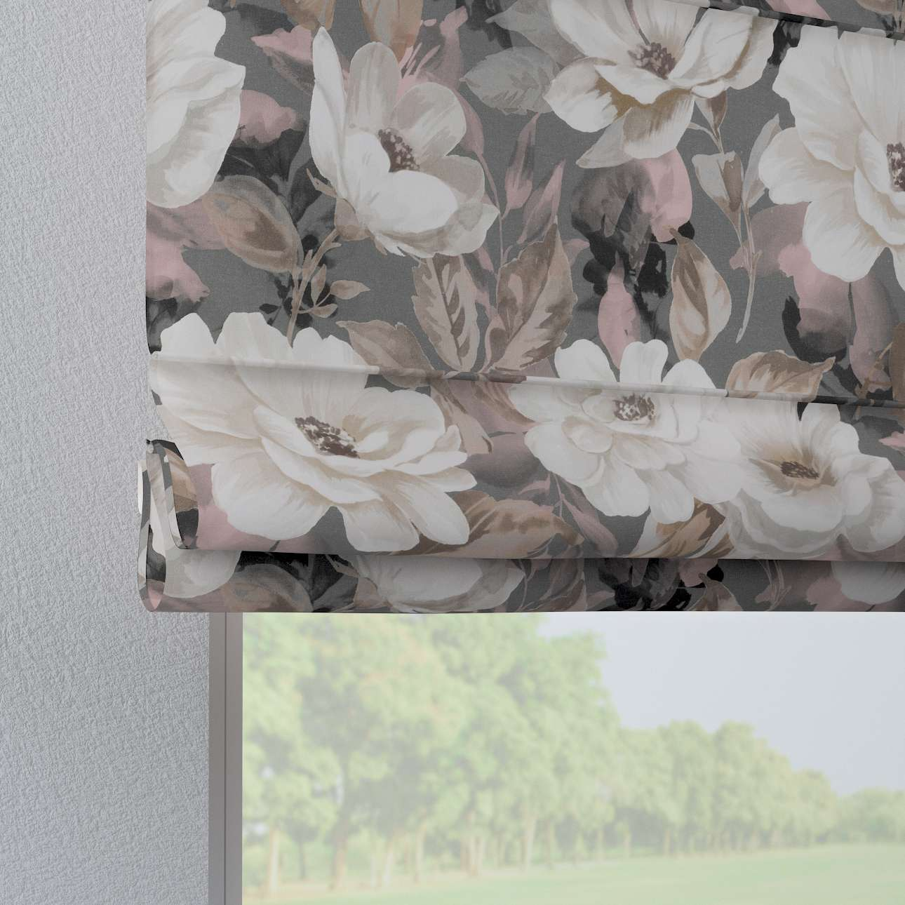 Verona tab top roman blind in collection Gardenia, fabric: 142-13
