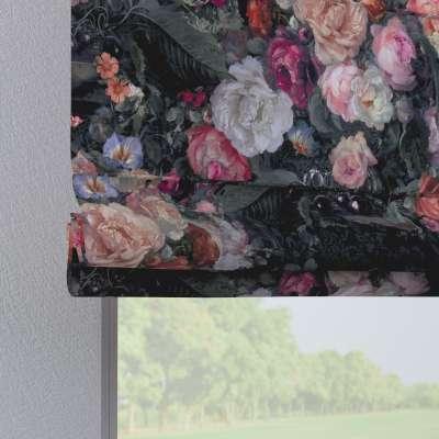 Verona tab top roman blind 161-02 large multicolour flowers on a dark background Collection Gardenia