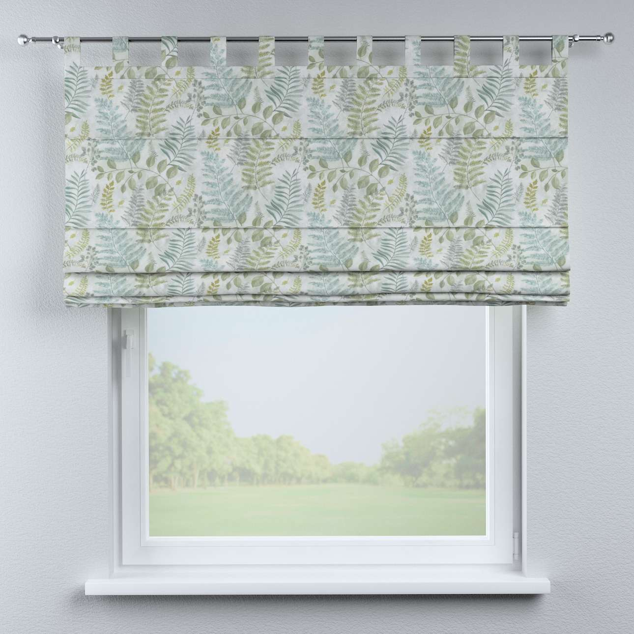 Foldegardin Verona<br/>Med stropper til gardinstang fra kollektionen Pastel Forest, Stof: 142-46