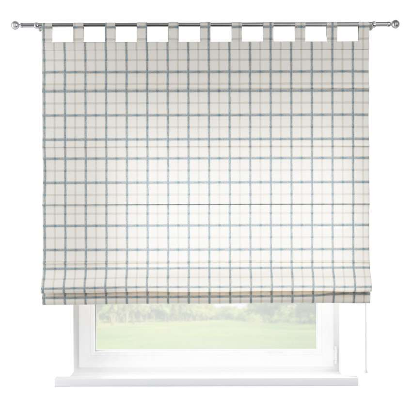 Verona Tab Top Roman Blind Blue Check Ivory Background