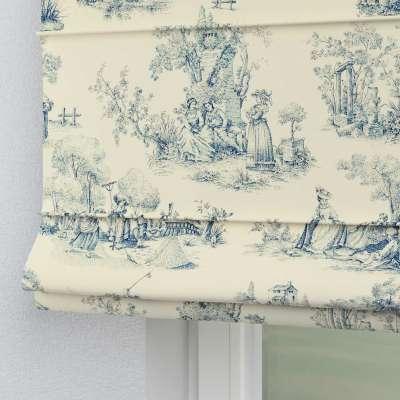 Foldegardin Verona<br/>Med stropper til gardinstang 132-66 Blå print, creme baggrund Kollektion Avinon