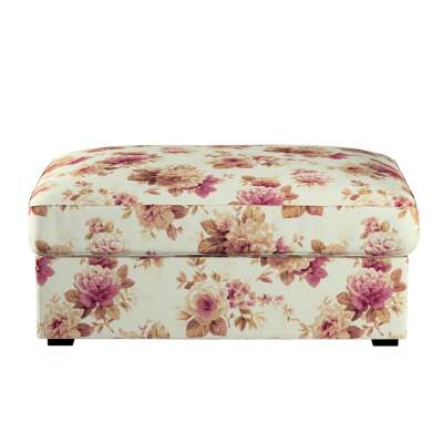 Kivik footstool cover 141-06 burgundy and beige roses, ivory background Collection Londres