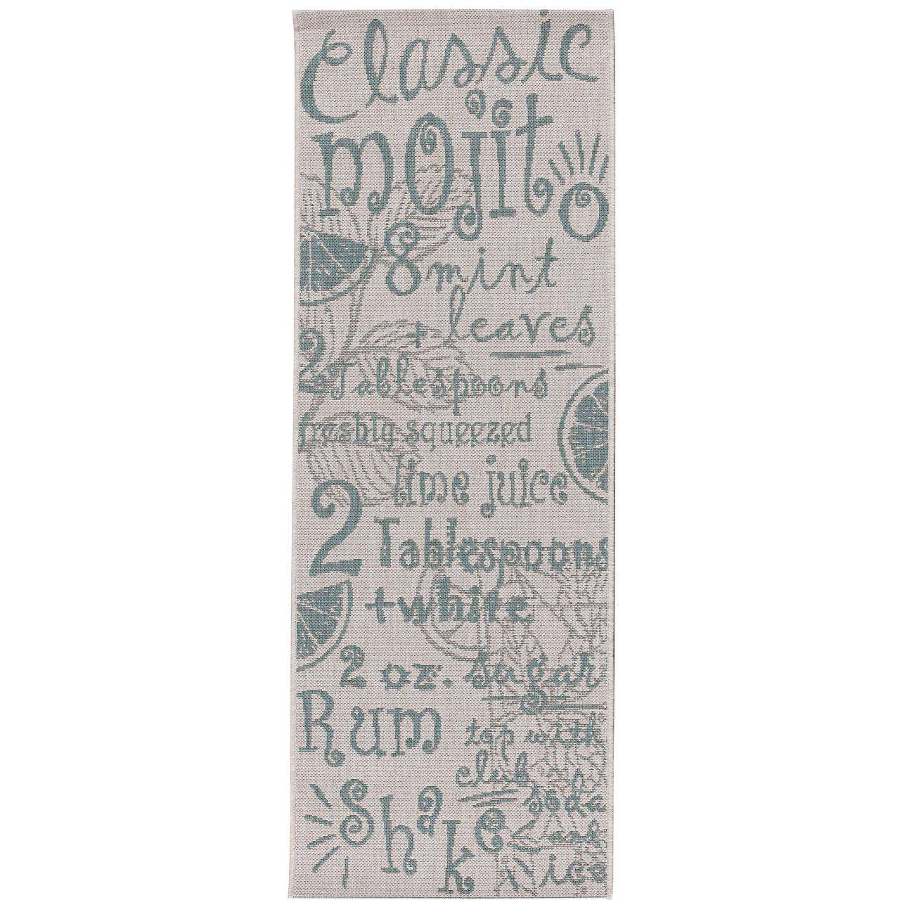 Dywan Cottage Letters wool/spa blue 60x180cm 60x180cm