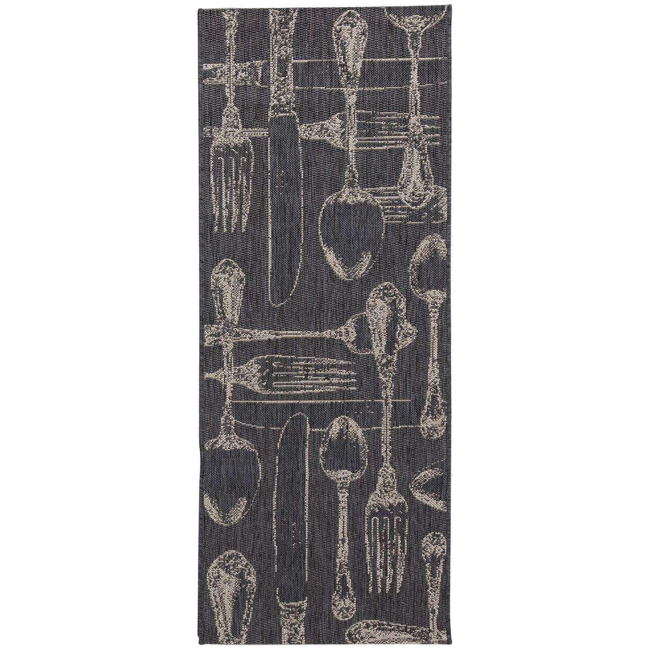 Küchenläufer Cottage Cutlery antracite/ sand 60x180cm