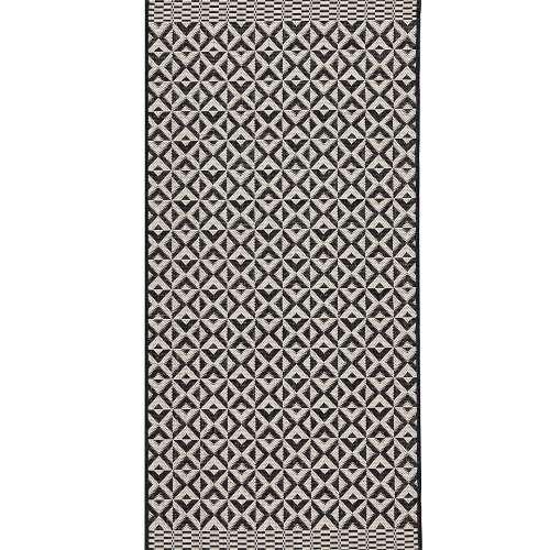 Modern Geometric Black/Wool Area Rug 67x130cm