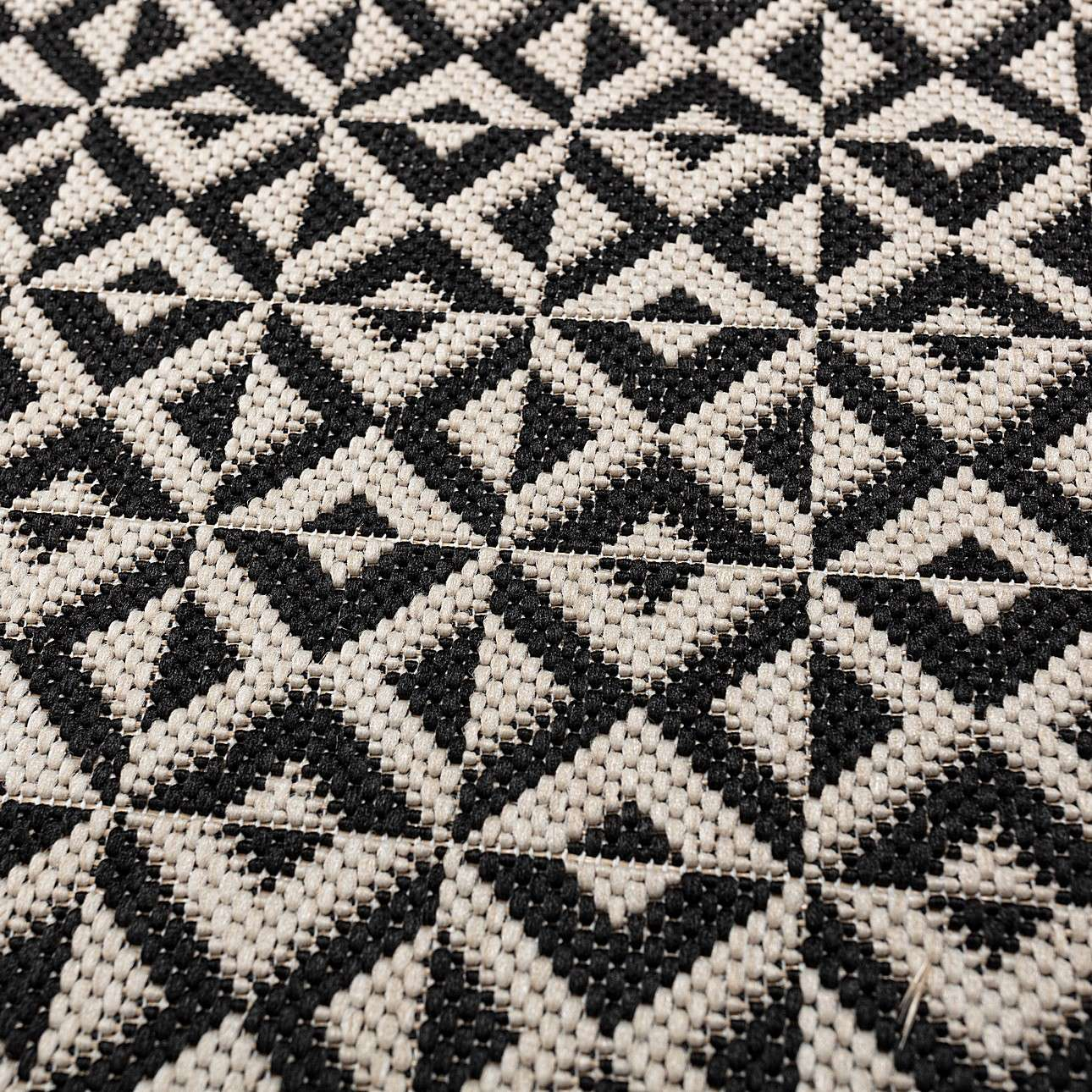 Teppich Modern Geometric black/ wool 67x130cm
