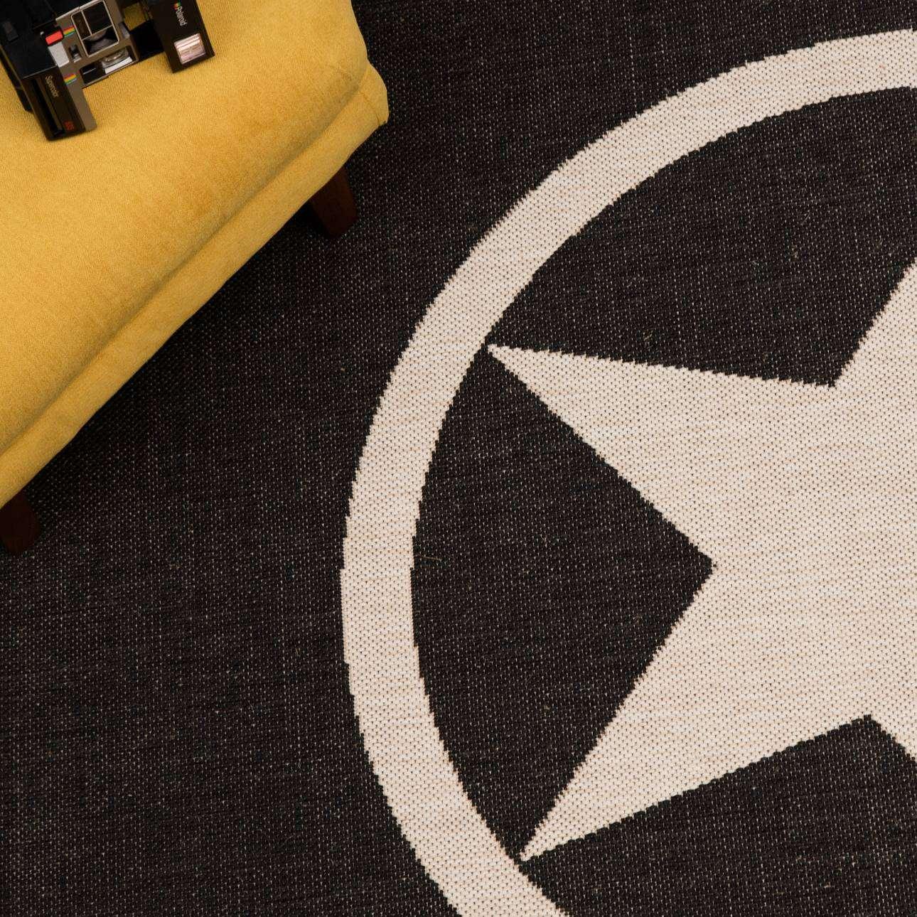 Teppich Modern Star black/ wool 67x130cm