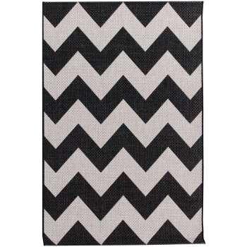 Teppich Modern Chevron black/ wool 67x130cm