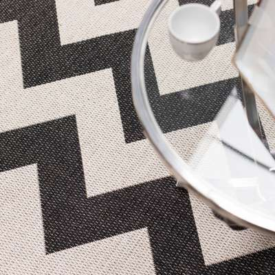 Teppich Modern Chevron black/ wool 67x130cm Teppiche - Dekoria.de