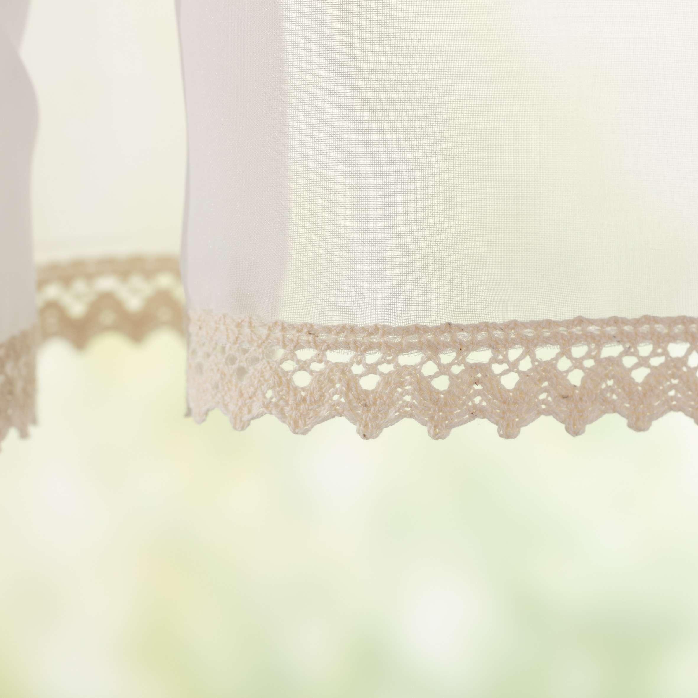 Kort gordijn Lily wit aan het stuk van de collectie Voile, Stof: 900-01