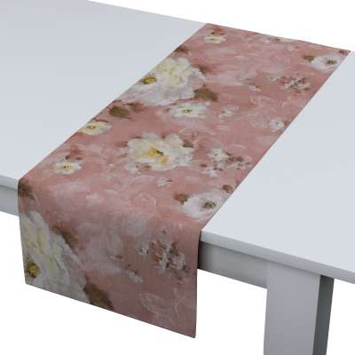 Štóla na stôl 137-83 krémove a ružové kvety na tmavo ružovom podklade Kolekcia Flowers