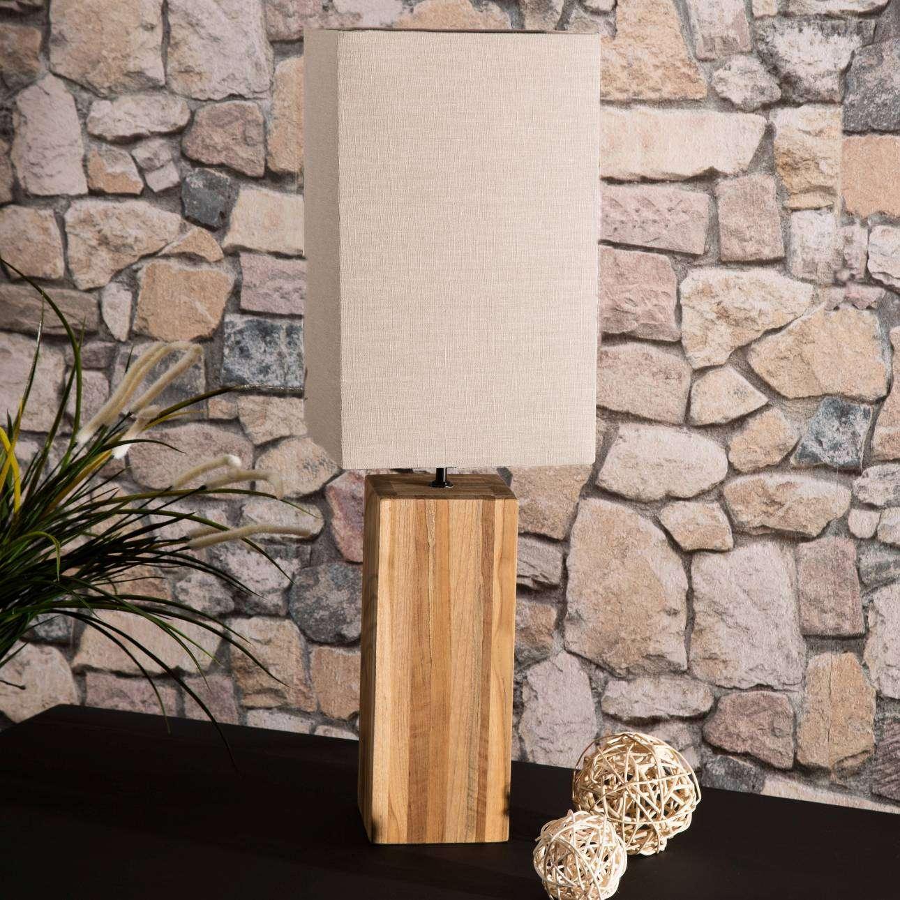 Tischlampe Cube Line Teak 68cm