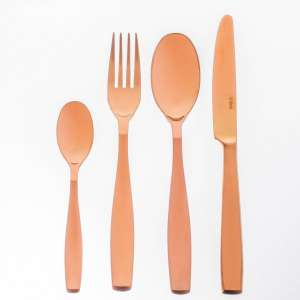 Sztućce Gaya Copper Satin PVD komplet dla 6 osób 24części 43,5x32,5x5cm