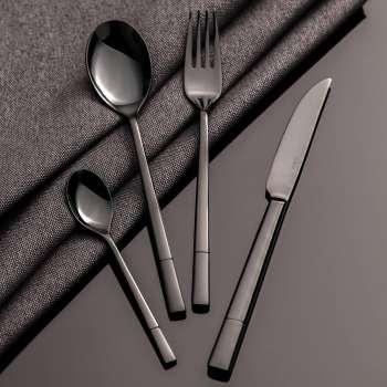 Sztućce Luxus Black komplet dla 6 osób 24 części