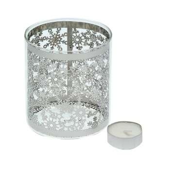 Świecznik Christmas Time Silver wys. 10.5cm 9,5x9,5x10,5cm