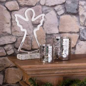 Świecznik Christmas Time Silver wys.8cm 7x7x8cm