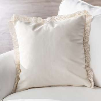 Cushion Cover with Lace - Cream 43x43cm