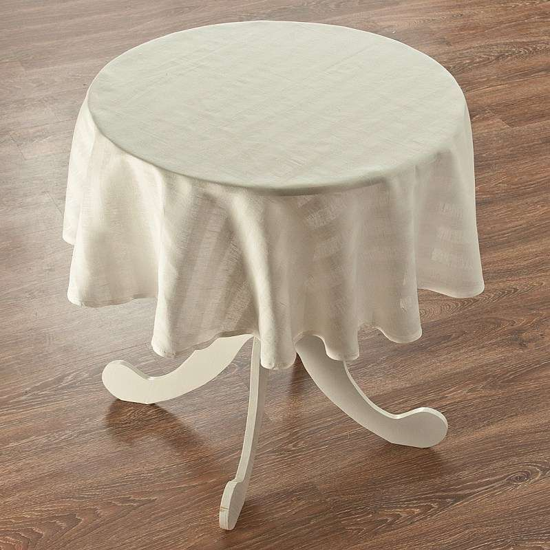 Round tablecloth Ø 135 cm (53 inch) in collection Linen, fabric: 392-03