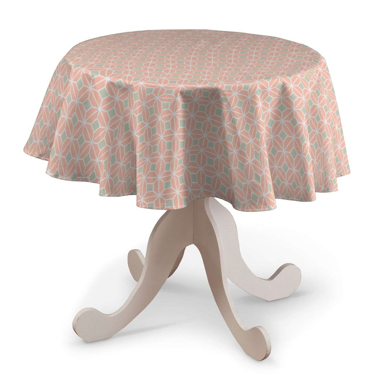 Round tablecloth Ø 135 cm (53 inch) in collection Geometric, fabric: 141-48