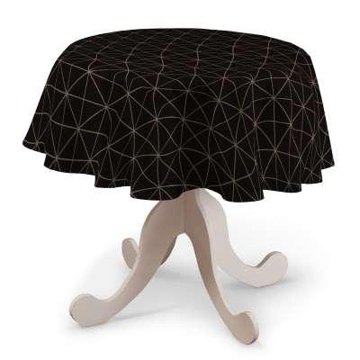 Rund bordsduk i kollektionen Black & White, Tyg: 142-55