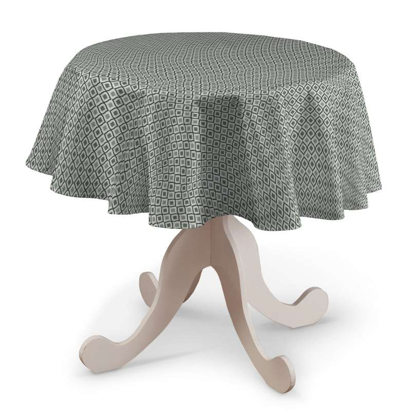 Rund bordsduk i kollektionen Black & White, Tyg: 142-76