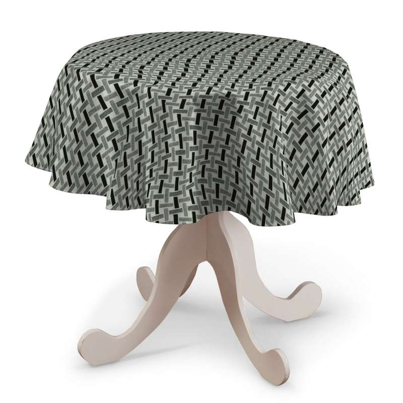 Rund bordsduk i kollektionen Black & White, Tyg: 142-78