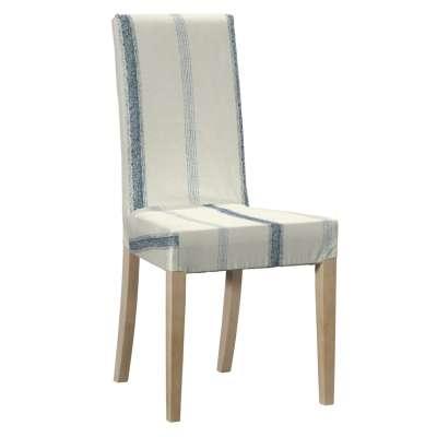 Sukienka na krzesło Harry krótka 129-66 ecru tło, niebieskie paski Kolekcja Avinon
