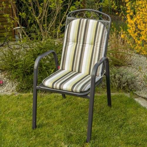 Materac ogrodowy 94x40x3,5cm, oliwkowo-beżowe pasy