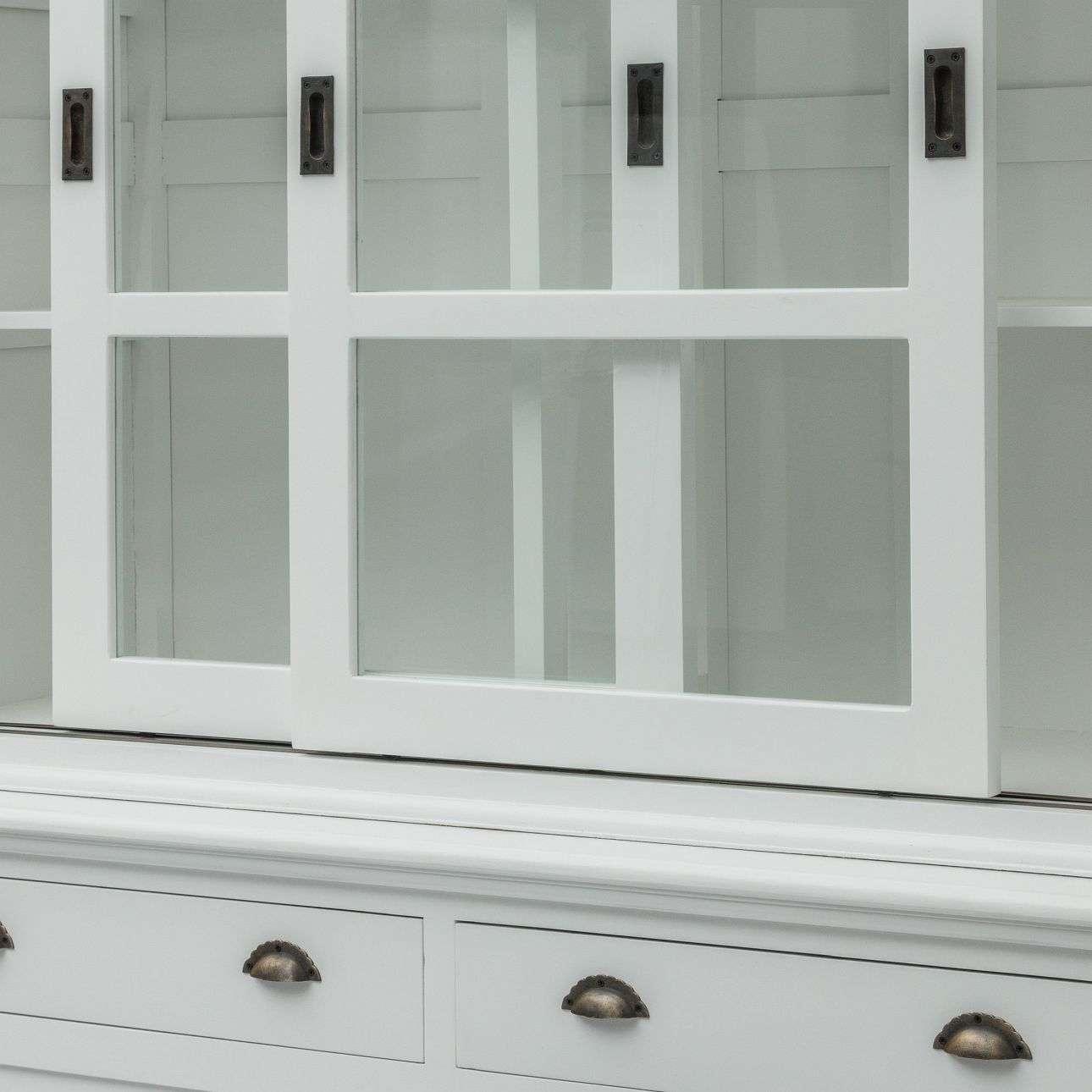 Kredens New England white, 2 szuflady+ 2 drzwi przesuwne 143x52x215cm 143x52x215cm