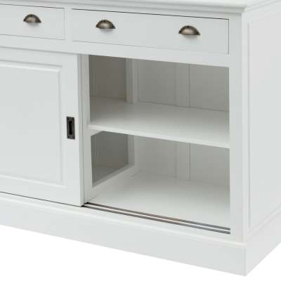 Kredens New England white, 2 szuflady+ 2 drzwi przesuwne 143x52x215cm