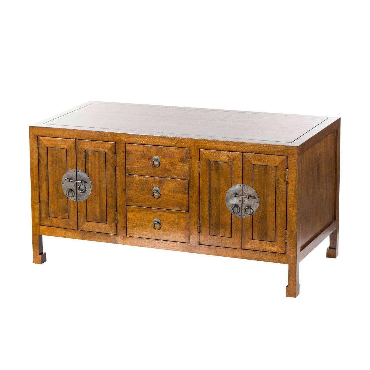 Dekoria Komoda Ibuku 3szuflady + 4 drzwi, brown 126x55x65cm