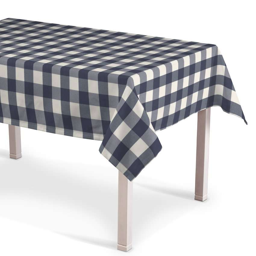 Rechteckige Tischdecke, weiss-dunkelblau kariert, 130 × 130 cm, Quadro | Heimtextilien > Tischdecken und Co > Tischdecken | Muster | Stoff | Dekoria