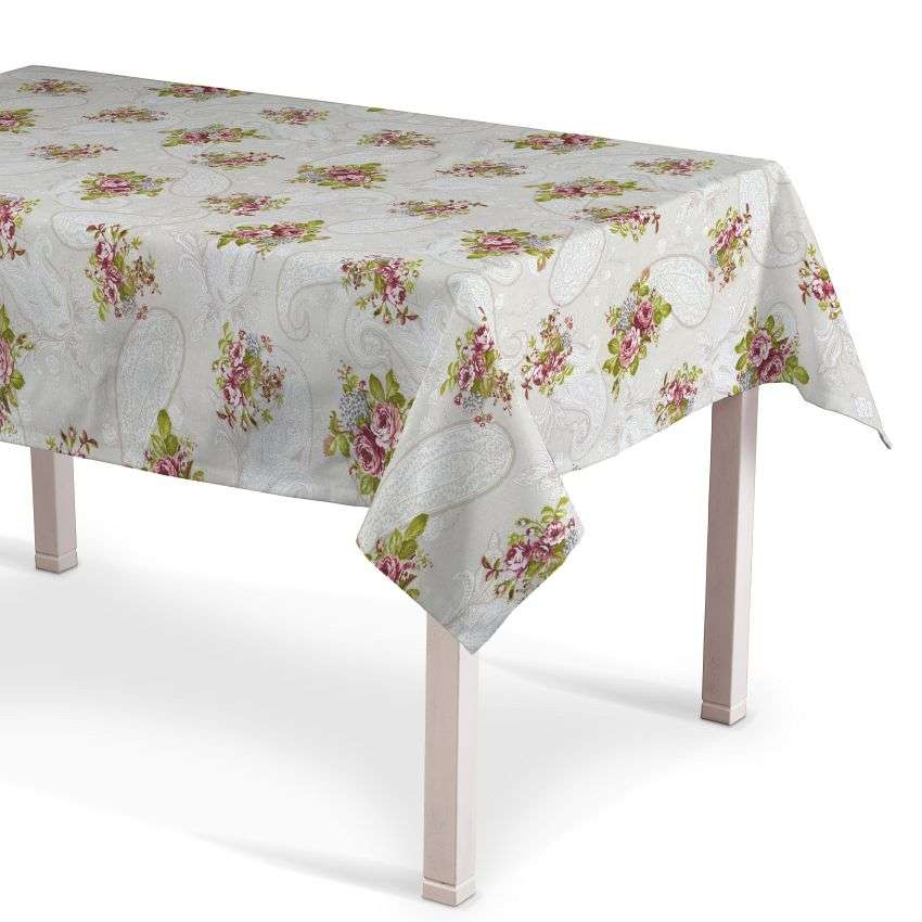 rechteckige tischdecke rosen auf dem beigen hintergrund 130 x 130 cm dekoria. Black Bedroom Furniture Sets. Home Design Ideas