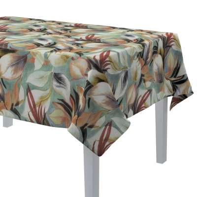 Rectangular tablecloth 143-61 orange-claret-yellow, mint background Collection Abigail