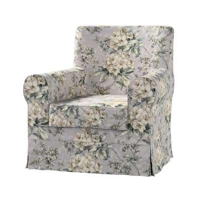Pokrowiec na fotel Ektorp Jennylund 143-36 oliwkowo-beżowe kwiaty na szarym tle Kolekcja Londres