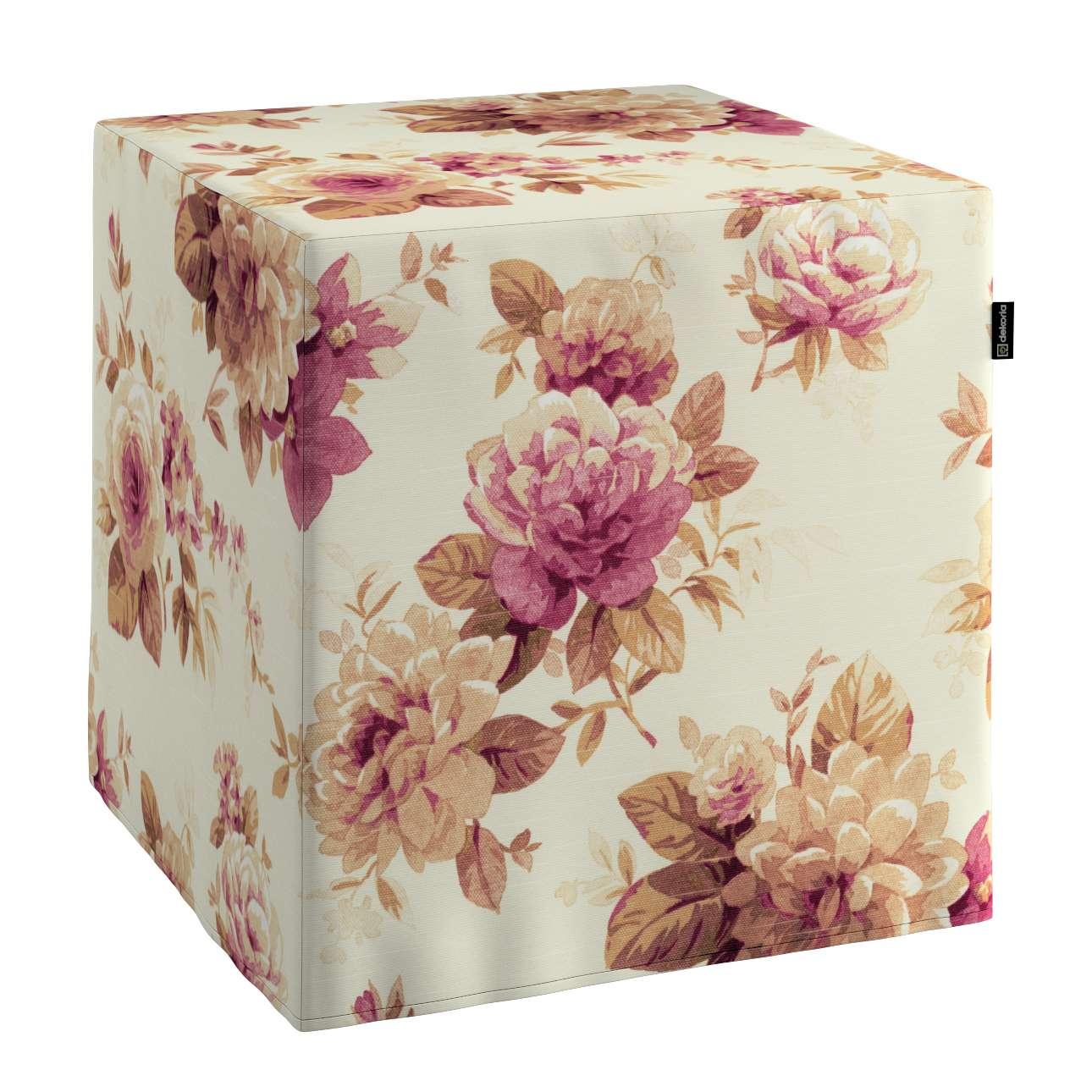 Pokrowiec na pufę kostke kostka 40x40x40 cm w kolekcji Mirella, tkanina: 141-06
