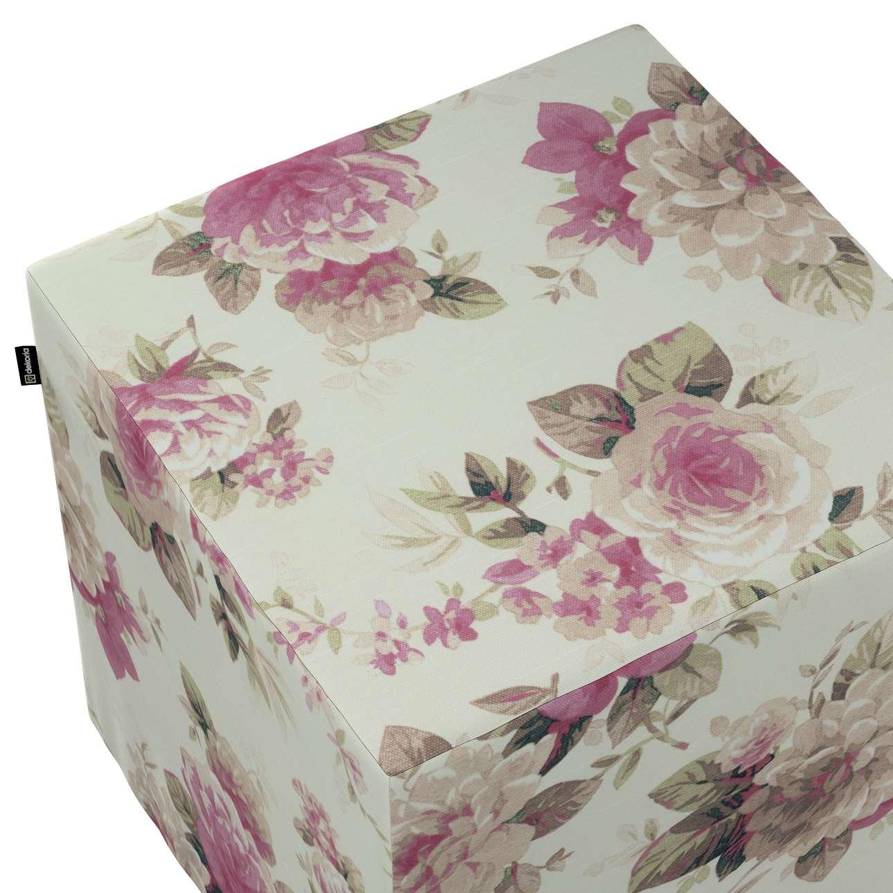Pokrowiec na pufę kostkę w kolekcji Mirella, tkanina: 141-07