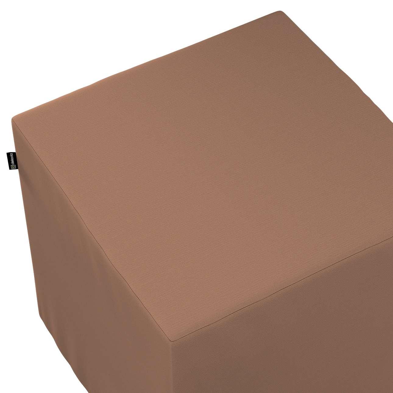 Pokrowiec na pufę kostkę w kolekcji Cotton Panama, tkanina: 702-02