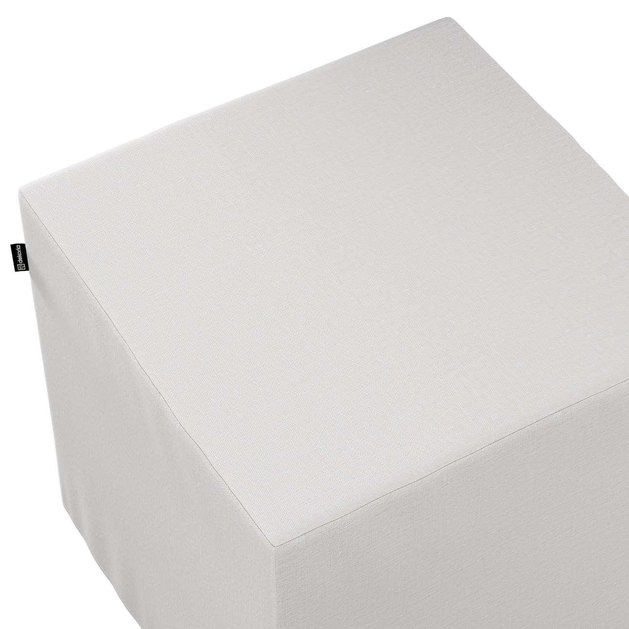 Pokrowiec na pufę kostkę w kolekcji Linen, tkanina: 392-04
