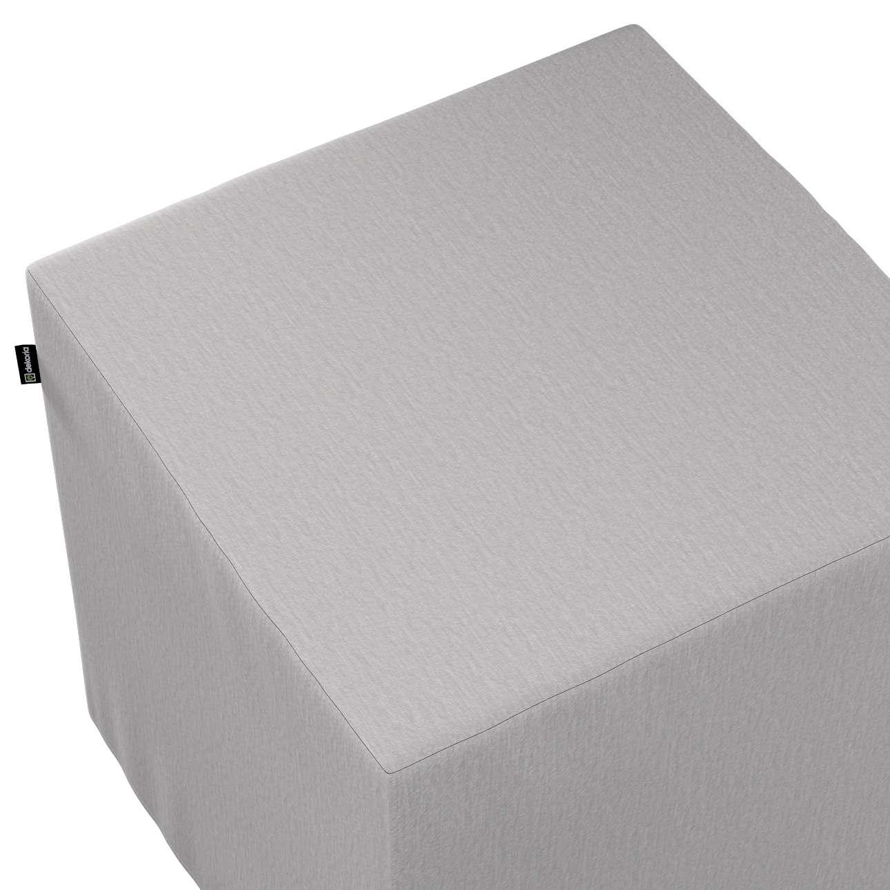 Pokrowiec na pufę kostkę w kolekcji Chenille, tkanina: 702-23