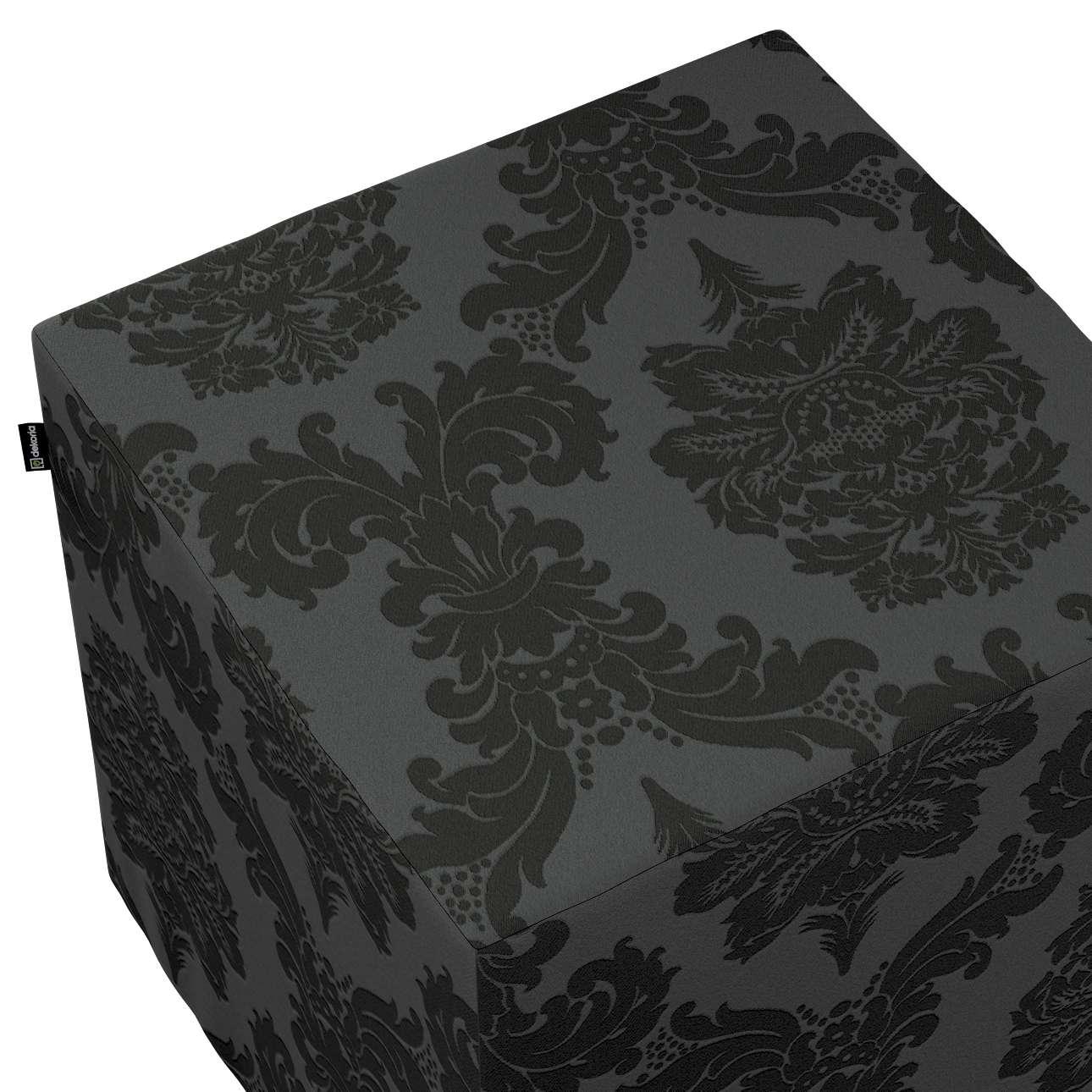Pokrowiec na pufę kostkę w kolekcji Damasco, tkanina: 613-32
