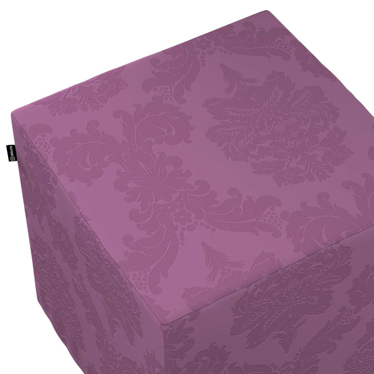 Pokrowiec na pufę kostkę w kolekcji Damasco, tkanina: 613-75