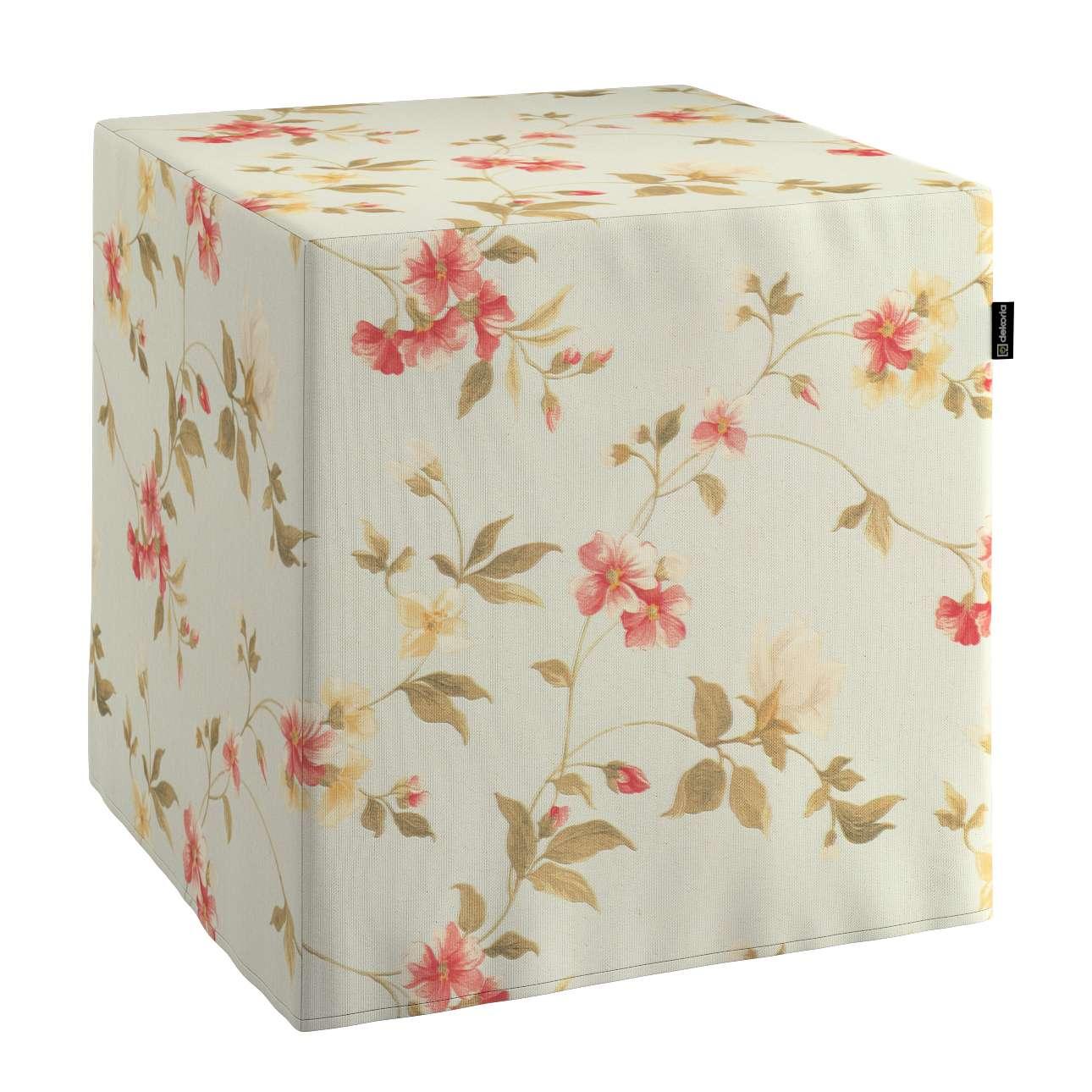 Pokrowiec na pufę kostke kostka 40x40x40 cm w kolekcji Londres, tkanina: 124-65