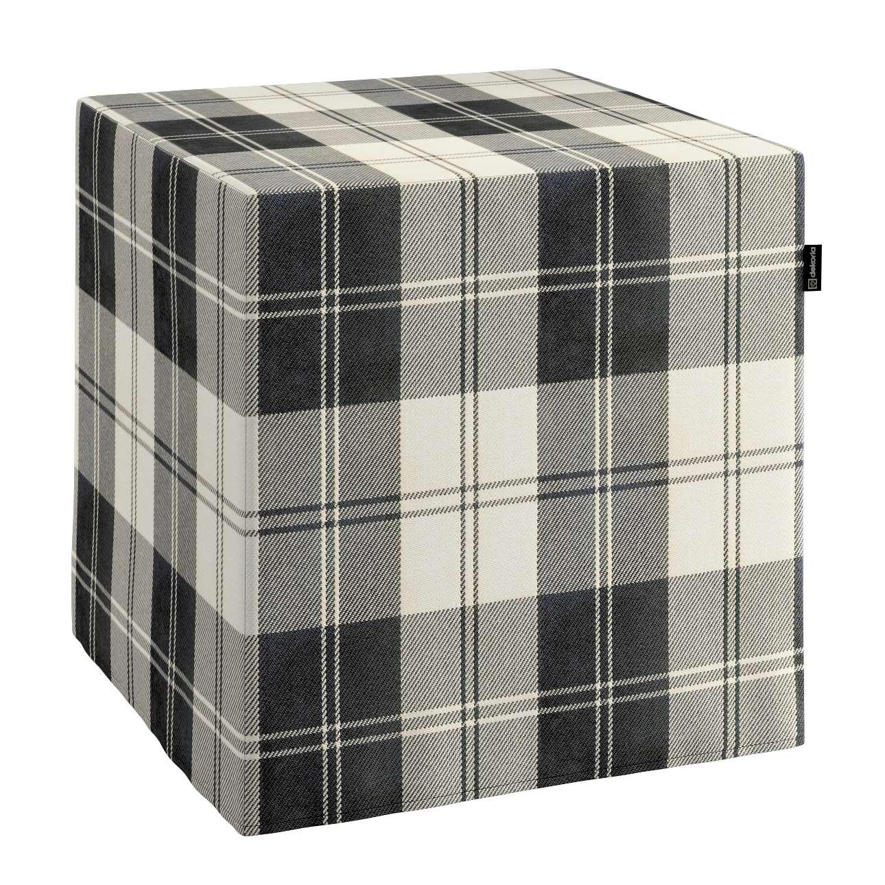 Pokrowiec na pufę kostke kostka 40x40x40 cm w kolekcji Edinburgh, tkanina: 115-74
