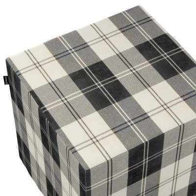 Pokrowiec na pufę kostkę 115-74 krata czarno-biała Kolekcja Edinburgh