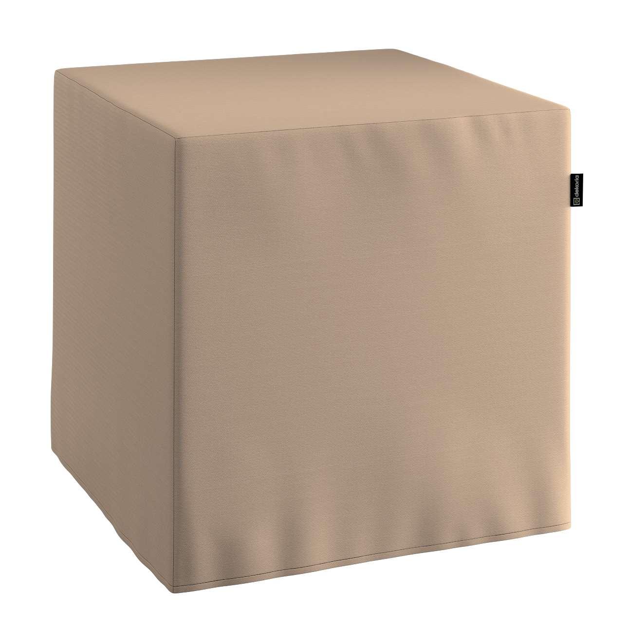 Pokrowiec na pufę kostke kostka 40x40x40 cm w kolekcji Cotton Panama, tkanina: 702-28